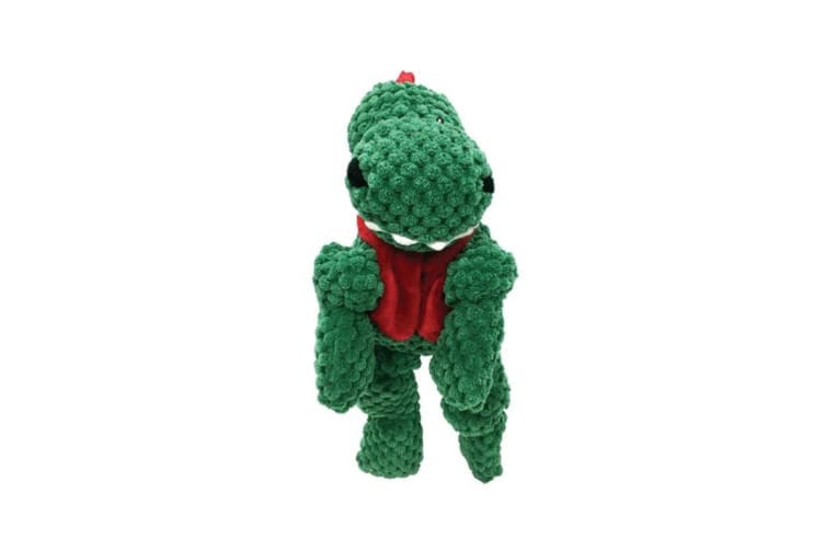 Foufou Dog Very Merry Knotted Plush Dino Toy (Green) (S)