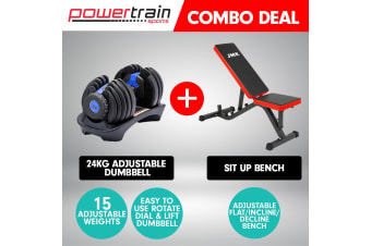 Powertrain 24kg Adjustable Dumbbell Home Gym Exercise Bench Blue