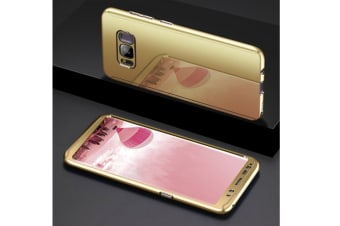 Mirror Cover Full Protective Scratchproof Flip Stand Case Shell For Samsung Gold Samsung A7-2017