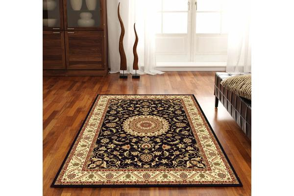 Medallion Rug Black with Ivory Border 150x80cm