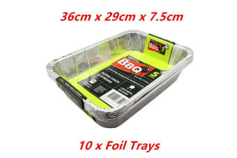 10 x Aluminium Deep Baking Foil Tray 36X29X7.5CM Catering Container Oven BBQ Takeaway