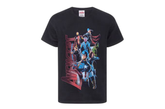 Marvel Official Boys Avengers Characters T-Shirt (Black)