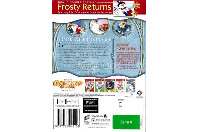 Frosty The Snowman - Series Region 4 Rare- Aus Stock DVD PREOWNED: DISC LIKE NEW