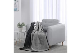Dreamaker Reversible Heated Throw Blanket - Two Tone (Charcoal/Silver)