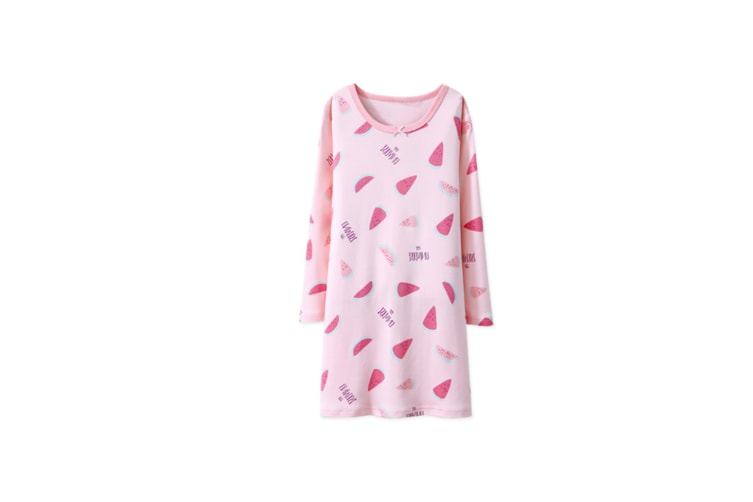 Nightgowns For Girls Cotton Pajamas Dresses Long Sleeve - Pink Watermelon Pink 130Cm