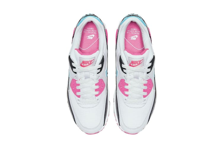 Nike Women's Air Max 90 South Beach Shoes (Pink/Teal/White/Black, Size 9 US)