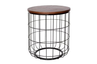 Replica Sean Dare Wire Side Table | Black & Walnut