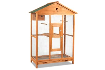Fir Wood Dual Level Bird Cage-L