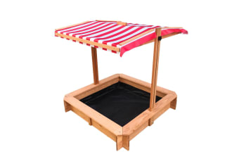 Kids Sandpit Beach Toys Sandbox with Red Adjustable Canopy