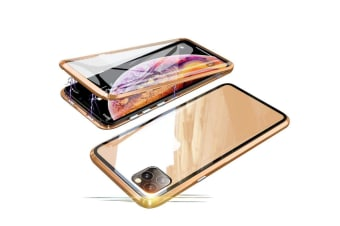 Select Mall 360 Degree Transparent Tempered Glass Cover Strong Magnetic Adsorption Technology Metal Bumper for iPhone-X XS