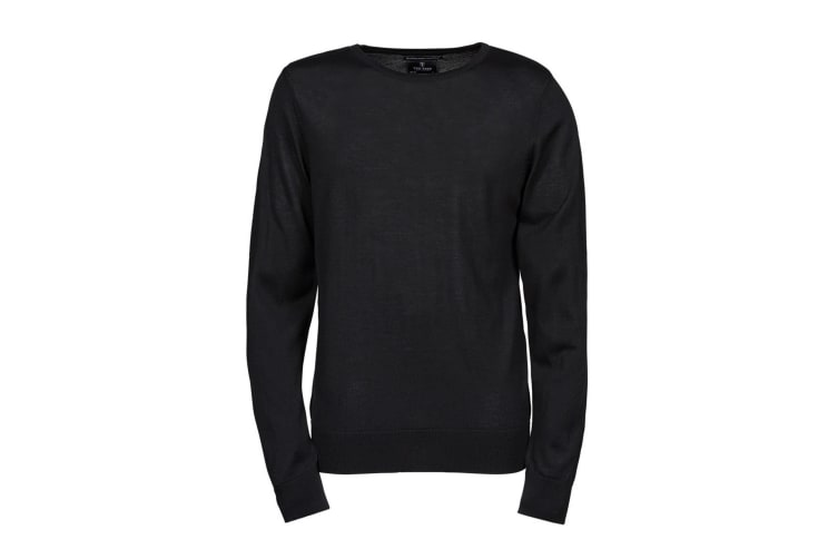 Tee Jays Mens Knitted Crew Neck Sweater (Black) (3XL)