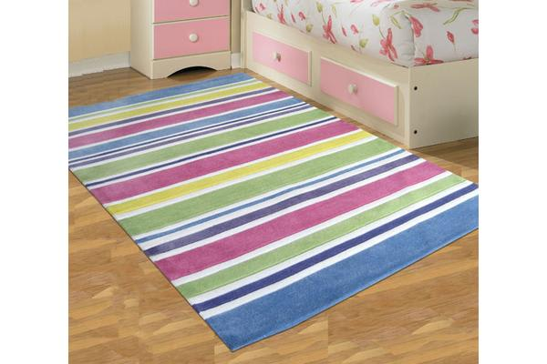 Pastel Coloured Stripes Children's Rug 165x115cm