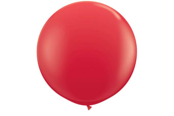 Qualatex 3 Ft Round Plain Latex Balloons (2 Pack) (Red)