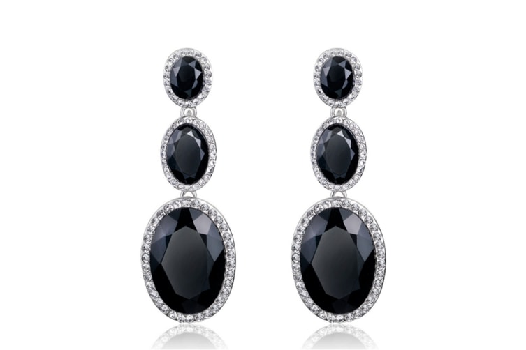 Geometric Shape Long 3 pcs Gems Drop Earrings Black