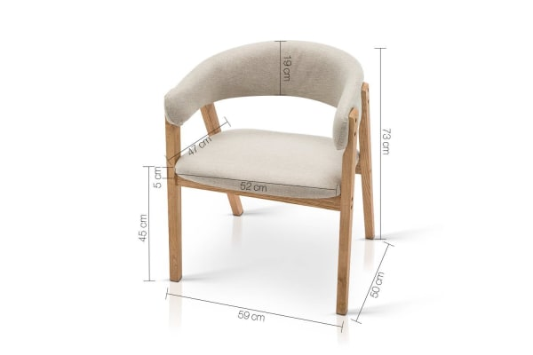 Fabric Dining Chair with PU Lacquer Finish (Beige)