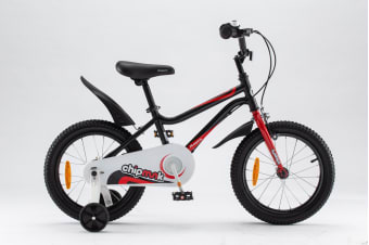 Chipmunk RoyalBaby 18'' Kids Bike for Girls and Boys 18 inch Kid's Bikes incl Training Wheels and Kickstand Black Colour