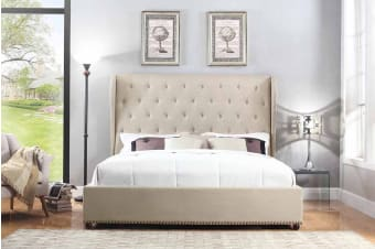 Paris Bed Frame (Queen/Beige)