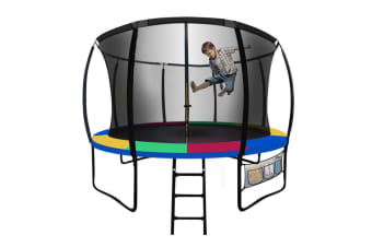 UP-SHOT 8ft Round Kids Trampoline Curved Pole Spring Black Multi-colour Outdoor