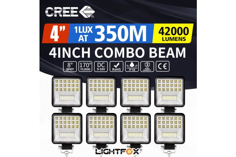 "LIGHTFOX 8x 4"" inch CREE LED Work Lights Spot Flood Square Work Lamp Off Road 4x4 Reverse"
