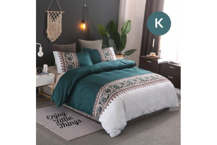 King Size Bohemian Jade Quilt/Doona Cover Set