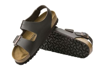 Birkenstock Unisex Milano Smooth Leather Sandal (Dark Brown, Size 44 EU)