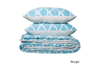 Sherpa Blanket / Coverlet + 2 Pillowcases Set Double/Queen Berge Aqua by IDC Homewares