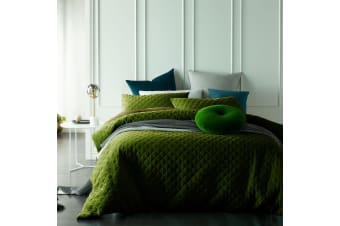 Cotton Velvet Diamond Quilted Quilt Cover Set Mossy Road by Vintage Design Homewares