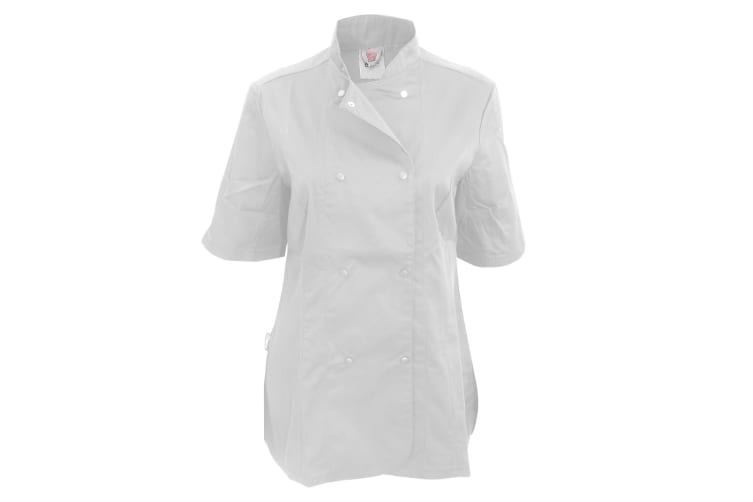 Dennys Womens/Ladies Short Sleeve Fitted Chef Jacket (White) (XL)