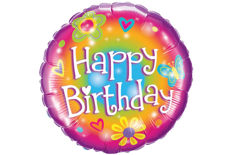 Qualatex 18 Inch Round Floral Rainbow Happy Birthday Foil Balloon (Multicoloured) (One Size)