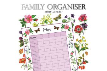Floral Family Organiser - 2020 Wall Calendar Planner 16 month Square 30x30cm (A)