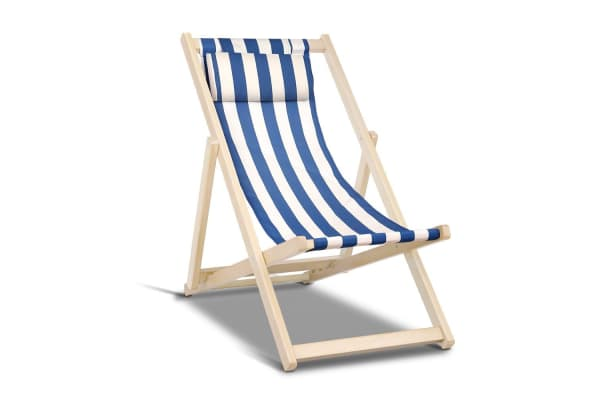 Fodable Beach Sling Chair (Blue/White)