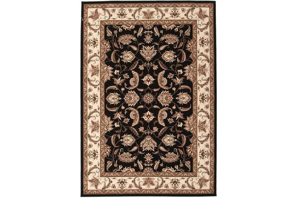Stunning Formal Floral Design Rug Black 290x200cm