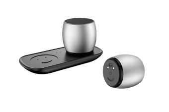 F1 Aluminium Alloy Stereo Wireless Bluetooth Speaker with Charging Dock, Support Hands-free(Silver)