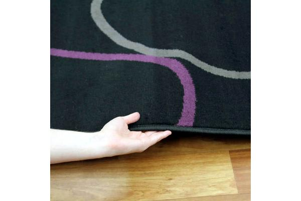 Blocks Rug Black Grey Cream Purple 230x160cm
