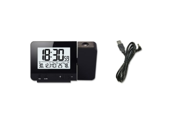 Alarm Clock With Time And Temperature Projection Usb Charging Alarm Clock - Black Black