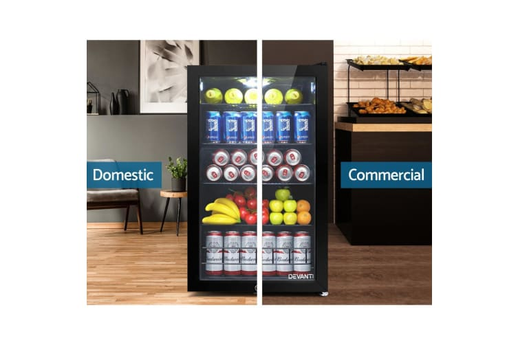 Bar Fridge Glass Door Mini Freezer Fridges 115L Countertop Beverage