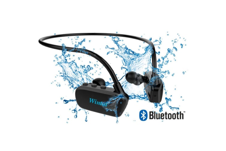 Wintal Aqua Buds Waterproof Bluetooth In-Ear Earphones w/8GB MP3 Player Black