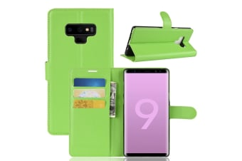 For Samsung Galaxy Note 9 Case Lychee Texture Wallet Flip Leather Cover Green