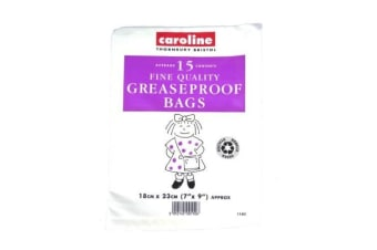 Caroline Greaseproof Bags (Pack of 15) (White)