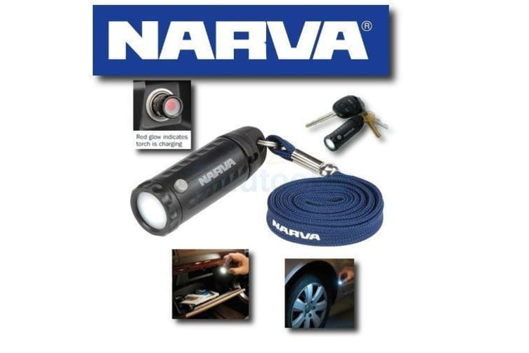 NARVA MINI LED TORCH RECHARGABLE FROM DASH CIGARETTE SOCKET FITS KEYRING 81036BL
