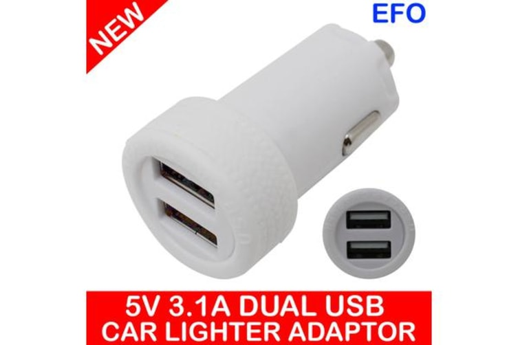 5V 3.1A Usb Car Charger Adaptor 2X Input For Ipad Iphone 12/24V Dc Socket White
