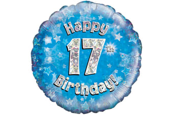 Oaktree 18 Inch Happy 17th Birthday Blue Holographic Balloon (Blue/Silver) (One Size)