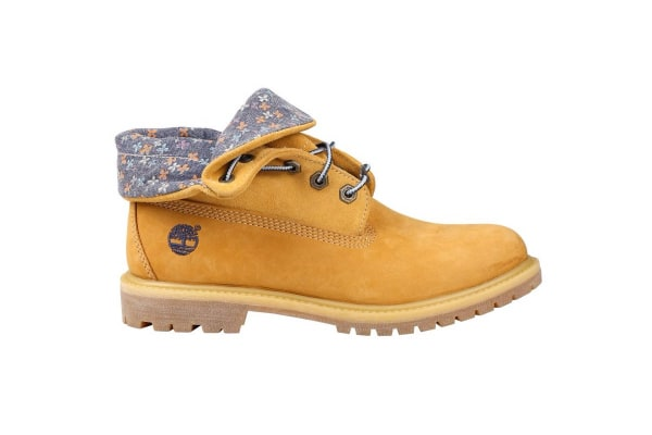 Timberland Women's Authentics Roll Top Boots (Wheat Nubuck Canvas Floral, Size 6 US)