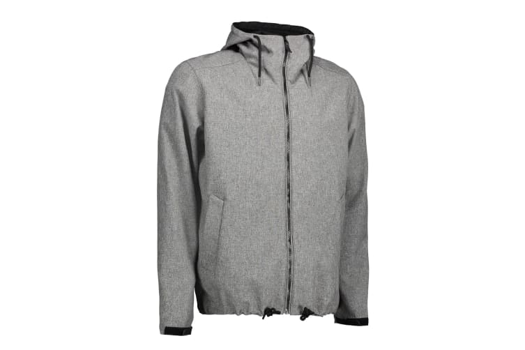 ID Mens Casual Soft Shell Hooded Jacket (Grey Melange) (L)