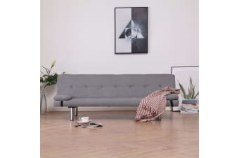 vidaXL Sofa Bed with Two Pillows Light Grey Polyester