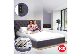 Royal Sleep King Single Bed Frame Gas Lift Platform Base Mattress Charcoal USB