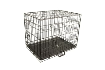 """24"""" Foldable Metal Wire Dog Cage with Wire Mesh Floor & Removable Tray"""