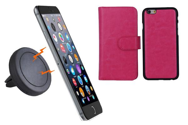 TODO Magnetic Quick Snap Car Air Vent Mount Leather Card Case Iphone 6 - Pink