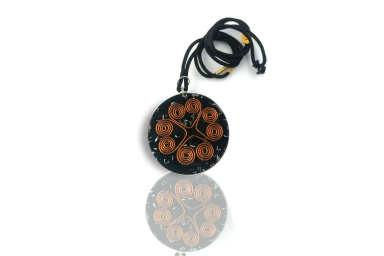 Orgonite Pendant Black Tourmaline Heart Cooper Coil Gemstone Disc Reiki Energy