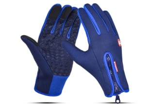 Outdoor Sport Gloves For Men And Women Skiing With Cold-Proof Touch Screen - 5 Blue Xl